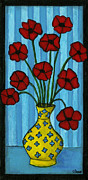 Pottery Paintings - Simple Flowers by Debbie Brown