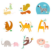 Squirrel Monkey Prints - Simple Life Icon Print by Eastnine Inc.