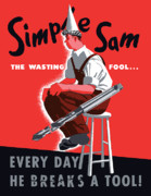 Waste Framed Prints - Simple Sam The Wasting Fool Framed Print by War Is Hell Store