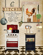Food Mixed Media Framed Prints - Simplified Kitchen Framed Print by Grace Pullen