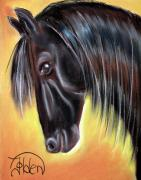 Horse Head Pastels Framed Prints - Simply Black Framed Print by Jo Hoden