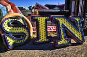 Old Signage Prints - Sin sign Print by Garry Gay