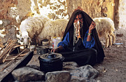Hijab Framed Prints - Sinai Bedouin Woman in her Kitchen Framed Print by Heiko Koehrer-Wagner