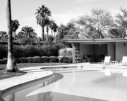 Midcentury Photo Framed Prints - Sinatra Pool And Cabana Bw Framed Print by William Dey
