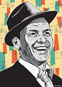 Midcentury Digital Art Framed Prints - Sinatra Pop Art Framed Print by Jim Zahniser