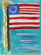 Red White And Blue Drawings - Since the Original 13 by Mary Carol Williams
