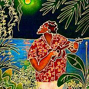Plumeria Prints - Sing Hanalei Moon Print by Angela Treat Lyon