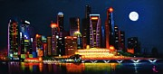 City Skylines Paintings - Singapore Aglow by Thomas Kolendra