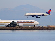 Airports Posters - Singapore Airlines And Delta Airlines Jet Airplane At San Francisco International Airport SFO Poster by Wingsdomain Art and Photography