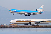 Boeing 747 Prints - Singapore Airlines And KLM Airlines Jet Airplane At San Francisco International Airport SFO 7D12153 Print by Wingsdomain Art and Photography