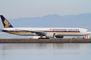 Airliners Photo Prints - Singapore Airlines Jet Airplane At San Francisco International Airport SFO . 7D12145 Print by Wingsdomain Art and Photography