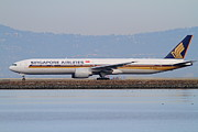 Airways Prints - Singapore Airlines Jet Airplane At San Francisco International Airport SFO . 7D12163 Print by Wingsdomain Art and Photography