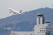 Boeing 747 Prints - Singapore Airlines Jet Airplane Over The San Francisco International Airport SFO Air Control Tower Print by Wingsdomain Art and Photography