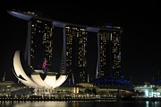 Singapore Pyrography Prints - Singapore At Night Print by Christian  Leano
