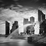 Skyline Art - Singapore Harbour by Nina Papiorek