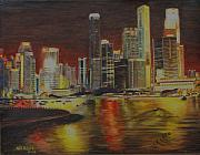 Skyscrapers. Painting Posters - Singapore Nights Poster by Nik Helbig