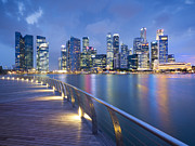 Business-travel Framed Prints - Singapore Skyline Seen Over Marina Bay Framed Print by Travelpix Ltd