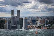 Urban Framed Prints - Singapore Swimmer Framed Print by Nina Papiorek