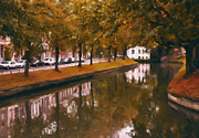 Netherlands Paintings - Singel in Utrecht by Nop Briex