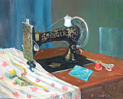 Treadle Prints - Singer Print by Lori Quarton