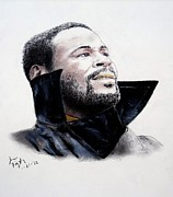 Raining Drawings - Singer Marvin Gaye by Jim Fitzpatrick