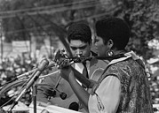 Discrimination Photo Prints - Singer Odetta At The 1963 Civil Rights Print by Everett