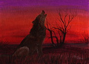 Wolf Howling Paintings - Singing at Dusk by Leslie Hoops-Wallace