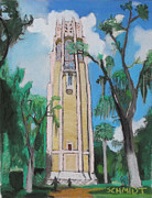 Singing Pastels Originals - Singing Bok Tower in Florida by Dana Schmidt