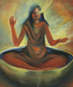Contemplation Painting Originals - Singing Bowl by Joyce Huntington