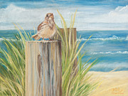 Bird Pastels Posters - Singing Greeter at the Beach Poster by Michelle Wiarda