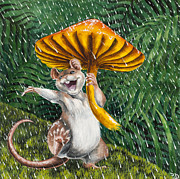 Anthropomorphic Posters - Singing in the Rain Poster by Beth Davies