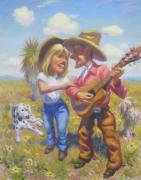 Holding A Boy Posters - Singing New Mexico Lovers Poster by Texas Tim Webb