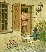 Singer Framed Prints - Singing Piglet Framed Print by Kestutis Kasparavicius