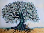 Blue Trees Prints - Singing under the Blues Tree Print by Nick Gustafson
