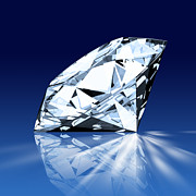 Three Dimensional Art - Single Blue Diamond by Setsiri Silapasuwanchai