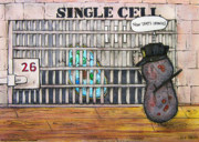 Cop Drawings Posters - Single Cell Poster by Carrie Jackson