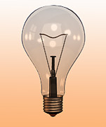 Y120907 Art - Single Light Bulb On Coloured Background by Calysta Images