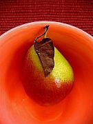 Salmon Digital Art Originals - Single Pear In A Bowl by Lucyna A M Green