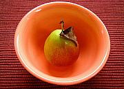 Pears Digital Art Originals - Single Pear In A Bowl Too by Lucyna A M Green