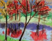 Autumn Trees Drawings Posters - Single Red Beauty Poster by John  Williams