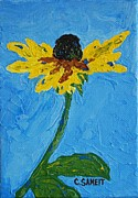 Black Eye Susan Paintings - Single Rudbeckia by Cheryl Sameit