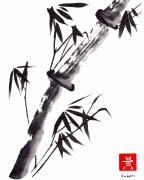 Strength Paintings - Single Sumi e Black Bamboo by Ken Hughson