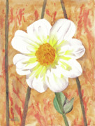 Fanciful Painting Prints - Single White Flower Print by Ken Powers
