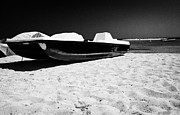 Republic Posters - Single Yellow Pedalo Sitting On An Empty Sandy Beach Republic Of Cyprus Europe Poster by Joe Fox