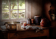 Tea Party Framed Prints - Sink - The morning chores Framed Print by Mike Savad