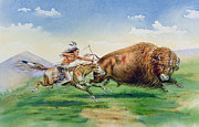 Weapon Painting Posters - Sioux Hunting Buffalo on Decorated Pony Poster by American School