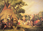 Crowds Paintings - Sioux Indian Council by Captain Seth Eastman