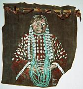 American Indian Tapestries - Textiles - Sioux Indian Elk Teeth sown on Shirt by Lulu Brymer