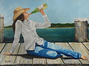 Original Cowgirl Posters - Sippin on the dock of the Bay Poster by Patricia DeHart
