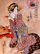 Japanese Painting Prints - Sipping Sondra Print by Tom Roderick